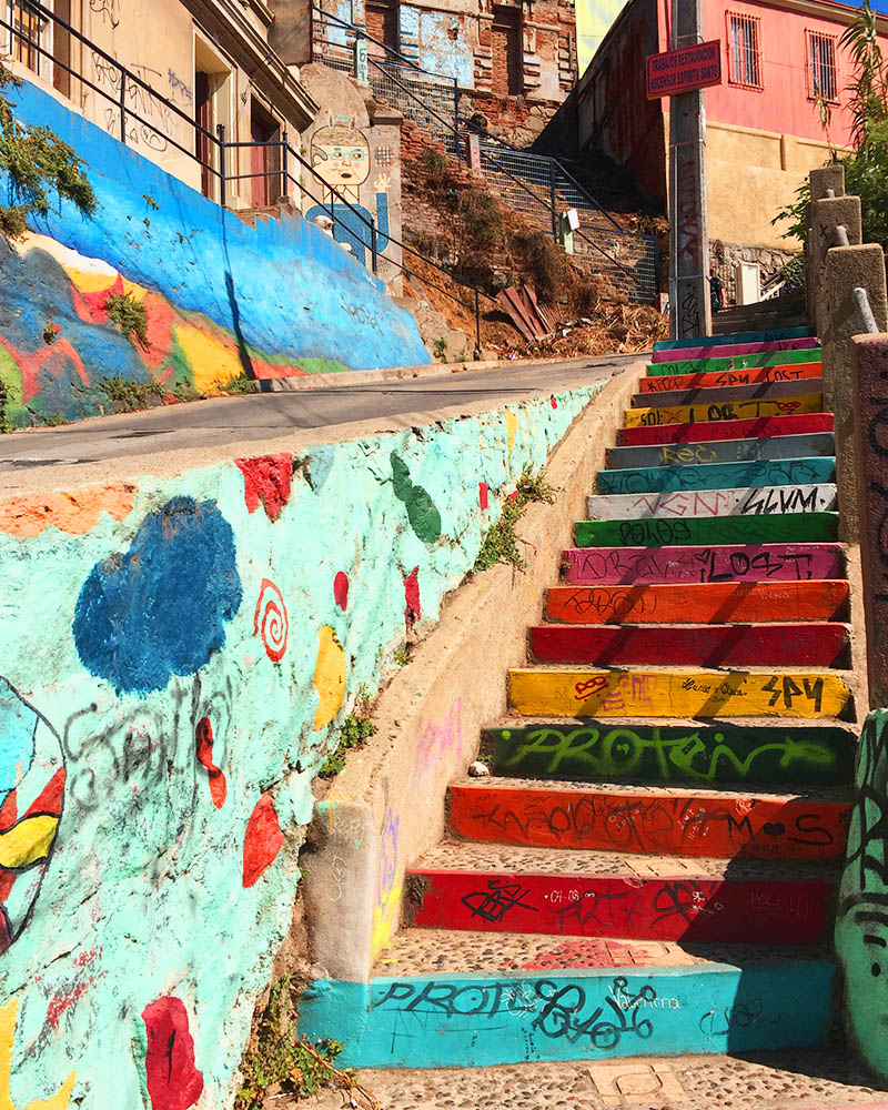 Colorful Steps in Valparaiso Chile